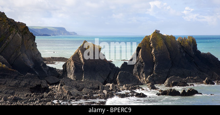 View of the Devon coast looking south from Hartland Quay through the rocks of Screda Point - Stock Photo
