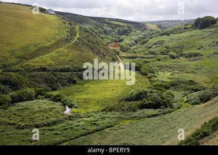 Speke's Mill valley from Swansford Hill looking towards Docton Mill on the South West coast path in North Devon - Stock Photo