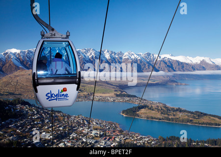 Skyline Gondola, The Remarkables and Lake Wakatipu, Queenstown, South Island, New Zealand - Stock Photo