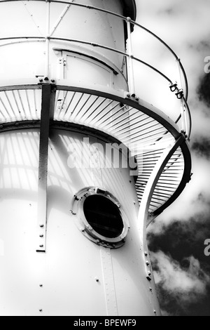 Detail of Black Nore lighthouse near Portishead and Clevedon on the Severn estuary - Stock Photo