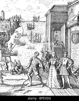 Christopher Columbus takes leave of King Ferdinand and Queen Isabella of Spain on August 3, 1492. - Stock Photo