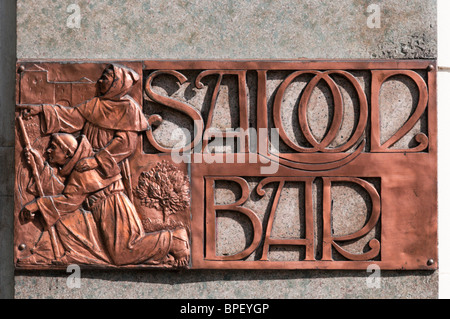 Sign for the Saloon Bar on The Black Friar pub in Blackfriars, London - Stock Photo