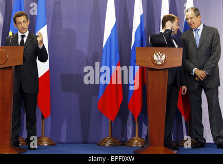 Presidents of Russia and France meet outside Moscow - Stock Photo