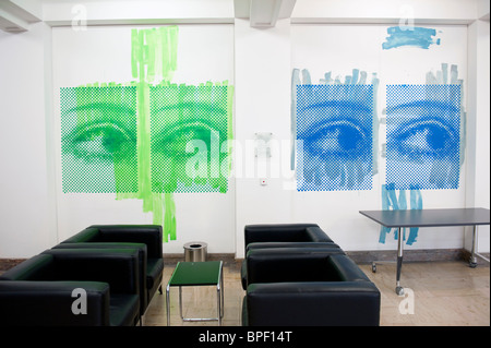 Artwork on wall of historic Finance Ministry or Bundesministerium der Finanzen in Mitte Berlin Germany - Stock Photo
