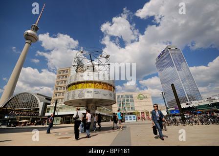 Alexanderplatz. Weltzeituhr. World Time Universal Clock. Park Inn Hotel. Galeria Kaufhof. Television Tower. Berlin. - Stock Photo