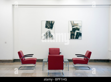 Meeting space in corridor at historic Finance Ministry or Bundesministerium der Finanzen in Mitte Berlin Germany - Stock Photo