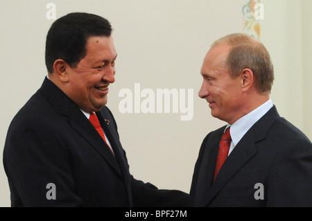 Russian PM Vladimir Putin meets Venezuelan President Hugo Chavez - Stock Photo