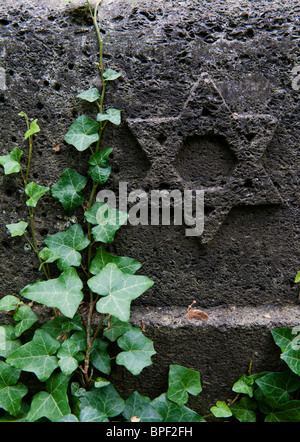 Detail from the old Jewish cemetery in Prenzlauer Berg in Berlin Germany - Stock Photo