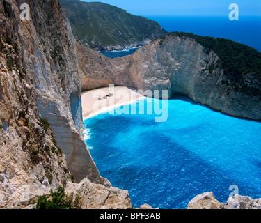 View over Smugglers Cove Shipwreck, Zakynthos (Zante), Ionian Islands, Greece - Stock Photo
