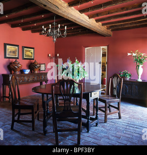 ... Antique Oak Table And Chairs In Dark Pink Country Dining Room With Old  Brick Flooring And