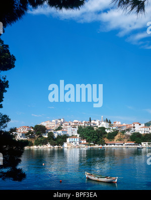 Harbour and Old Town, Skiathos Town, Skiathos, Sporades Islands, Greece - Stock Photo
