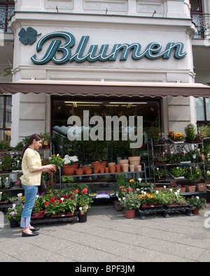 Traditional flower shop in Kreuzberg Berlin Germany - Stock Photo