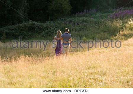A young couple walking through a field arm in arm, rear view - Stock Photo