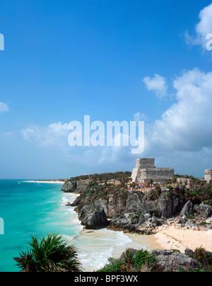 El Castillo Mayan Ruins, Tulum, Quintana Roo, Yucatan Peninsula, Mexico - Stock Photo