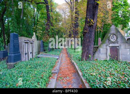 Path in  the old Jewish cemetery in Prenzlauer Berg in Berlin Germany - Stock Photo