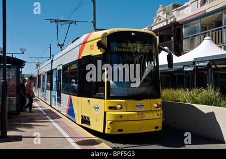 Tram pulls into terminus at Moseley Square Glenelg Adelaide South Australia - Stock Photo