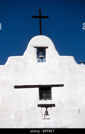 Church of San Augustin, Isleta Pueblo, New Mexico, USA - Stock Photo