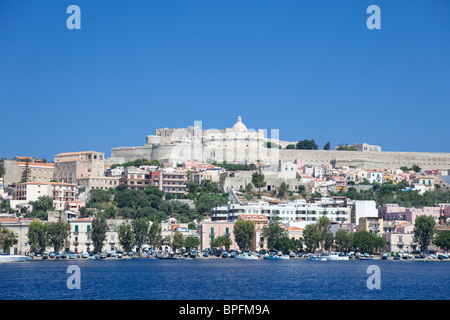 The view from the sea of the Milazzo old town and the citadel. - Stock Photo
