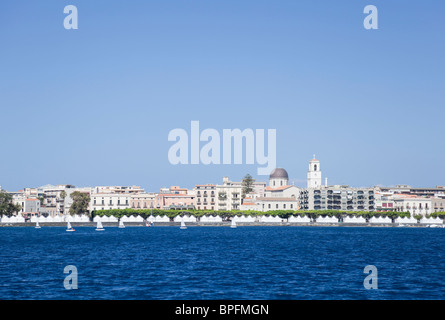 The festival tents along the seaside in Milazzo. - Stock Photo