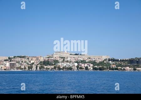 The sea view of the Milazzo castle and town from the distance. - Stock Photo