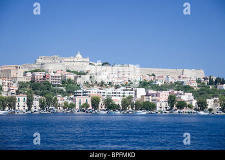 The sea view of Milazzo castello which restored by the Spanish in the seventeenth century. - Stock Photo
