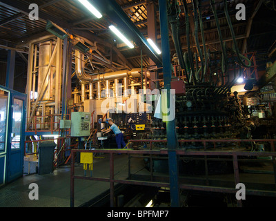 Libbey glass factory in Leerdam, the Netherlands, with the large melting oven furnace on the left - Stock Photo