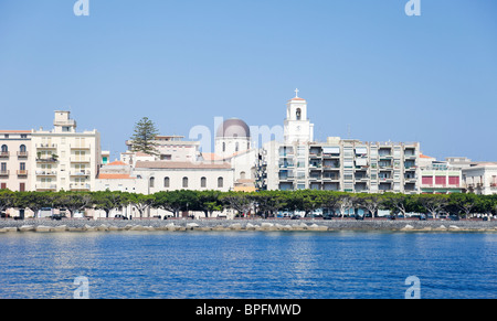 The view from the sea of Duomo Nuovo, the new church in Milazzo. - Stock Photo