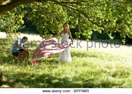 A Young Woman Laying A Picnic Blanket On The Grass Stock
