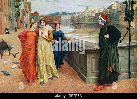 Dante and Beatrice. Dante Alighieri c.1265 – 1321, Italian poet and Beatrice 'Bice' di Folco Portinari 1266 - 1290. - Stock Photo