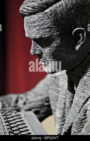 The Alan Turing sculpture by the artist Stephen Kettle on display at Bletchley Park near Milton Keynes, Buckinghamshire, - Stock Photo