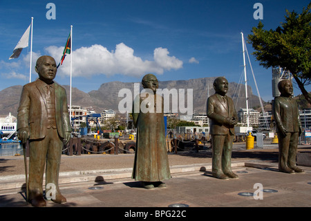South Africa, Cape Town. V & A Waterfront, statues of famous South Africans. - Stock Photo