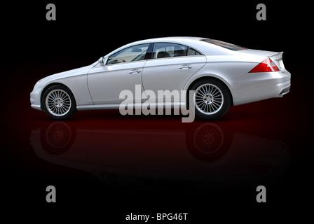 Huge Expensive Silver Metallic Color German Engineered Luxury Sedan Car (isolated) - Stock Photo