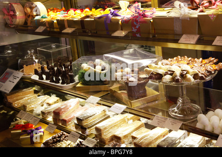 Chocolates and confectionery in a specialist upmarket shop in Salisbury, Wiltshire, England, UK - Stock Photo