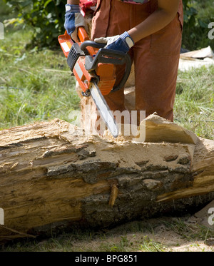Worker using chain saw to cut out wood sculpture - Stock Photo