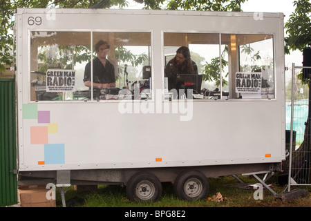 The Quietus disk jockeys broadcasting on the Green man festival radio. Green man festival 2010. - Stock Photo