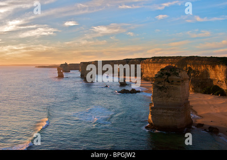 Twelve Apostles at sunset Port Campbell National Park Great Ocean Road Victoria Australia - Stock Photo