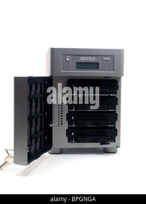 NAS Network Attached Storage Used To Store Computer Data - Stock Photo