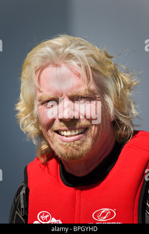 Sir Richard Branson during his record attempt to Kite Surf across the English Channel - Stock Photo