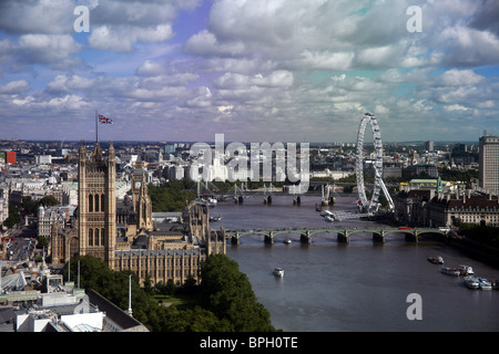 High view of The Palace of Westminster taken from Millbank Tower - Stock Photo