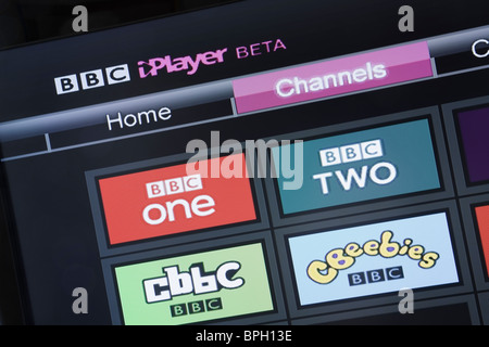 UK, Europe. Close-up of a television showing BBC iPlayer beta channels on Freesat screen - Stock Photo