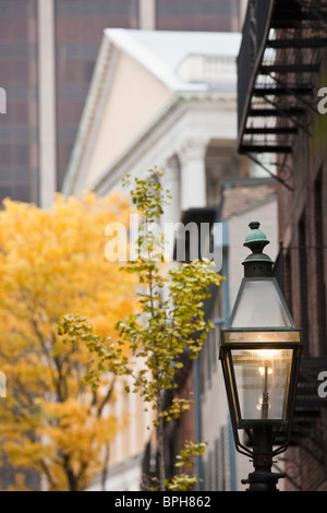 Lamppost with a government building in the background, Massachusetts State House, Mount Vernon Street, Boston - Stock Photo