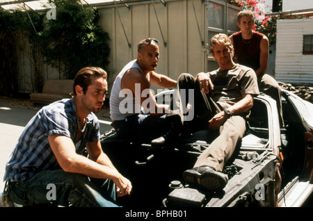 JOHNNY STRONG VIN DIESEL PAUL WALKER CHAD LINDBERG THE FAST AND THE FURIOUS (2001) - Stock Photo