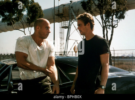 VIN DIESEL & PAUL WALKER THE FAST AND THE FURIOUS (2001) - Stock Photo