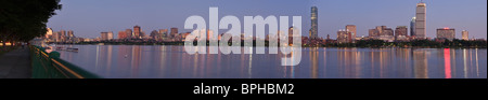 Panorama of the river and city skyline looking northwest to southeast shot from Cambridge, Charles River, Boston - Stock Photo