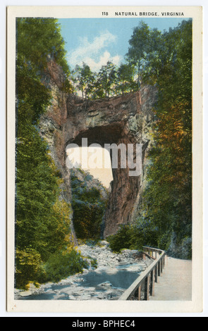 1935 old color postcard, Natural Bridge, Virginia, USA - Stock Photo
