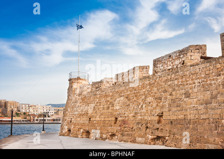 Old Fortress and Venetian Harbour in Chania, Crete, Greece - Stock Photo
