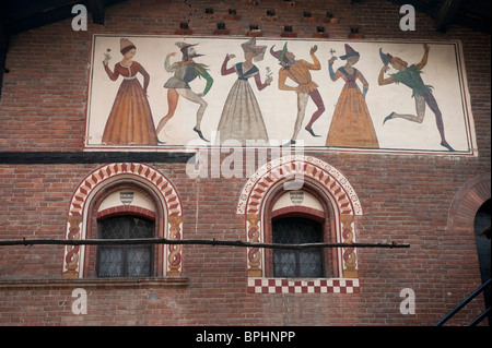 The Medieval Hamlet at the Valentino Park, Turin, Italy - Stock Photo