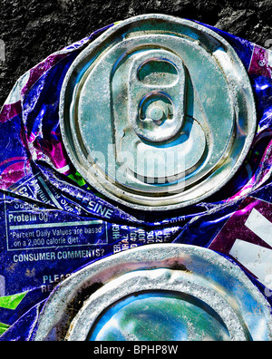 Crushed Flattened Soda Pop Can - Stock Photo
