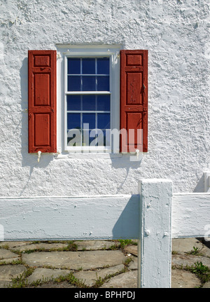 Old Window With Red Shutters & White Stucco Wall - Stock Photo