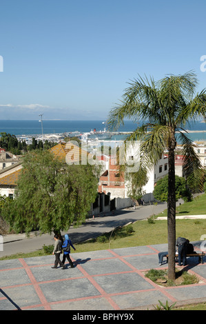 Town View over Tangier & the Mediterranean Sea from the Idlers Terrace or Terrasse des Paresseux, Tangier or Tanger, - Stock Photo